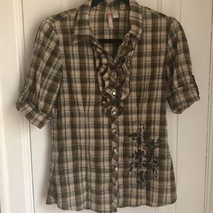 Cute olive green and beige plaid shirt top